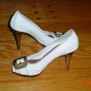 Zara Woman White Leather Peep Toe Pumps Size 36/6